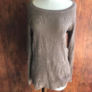 Studio Works Taupe Woven Sweater W/ Floral Detail